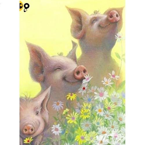 5D Diamond Painting Happy Pigs Kit