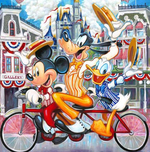 5D Diamond Painting Mickey, Goofy and Donald Bike Kit