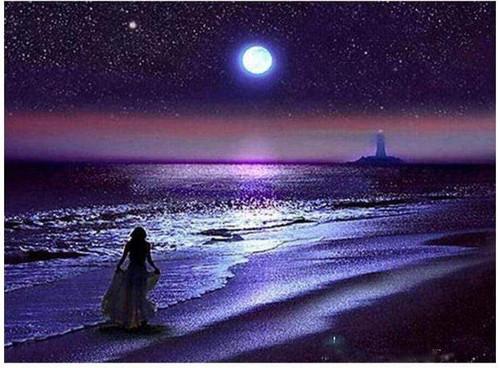 5D Diamond Painting Woman Moonlight Silhouette Kit