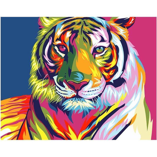 5D Diamond Painting Abstract Colored Tiger Kit