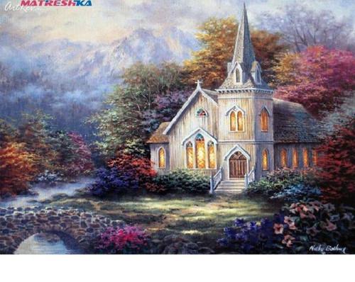 5D Diamond Painting Church over the Bridge Kit