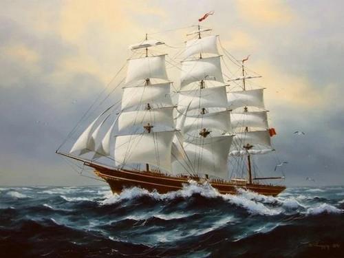 5D Diamond Painting Brown Sailing Ship Kit