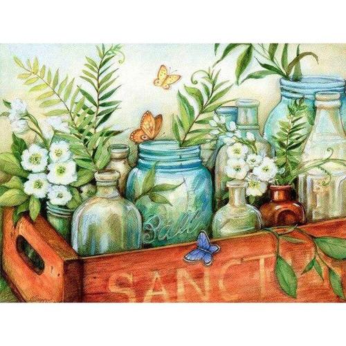 5D Diamond Painting Jars and Flowers Kit