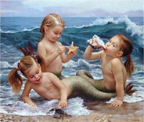 5D Diamond Painting Three Little Mermaids Kit