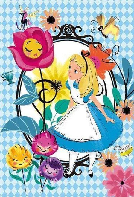 5D Diamond Painting Alice in Wonderland Flowers Kit