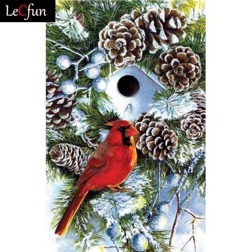 5D Diamond Painting White Birdhouse Cardinal Kit