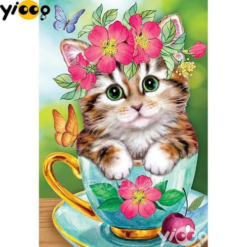 5D Diamond Painting Tea Cup Kitten and Flowers Kit