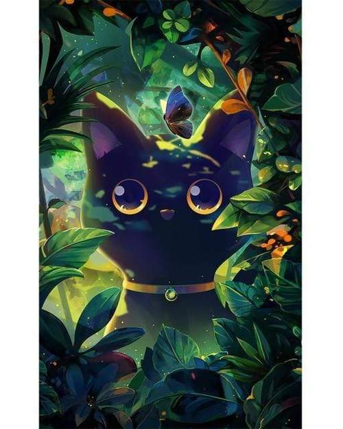 5D Diamond Painting Black Cat Butterfly Kit