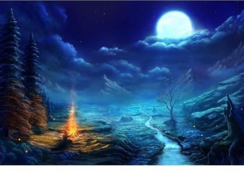 5D Diamond Painting Full Moon Campfire Kit