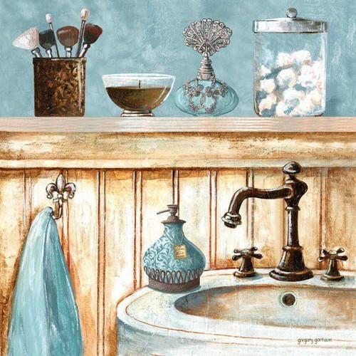 5D Diamond Painting Blue Bathroom Sink Kit