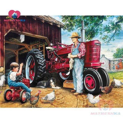 5D Diamond Painting Tractors and Chickens Kit