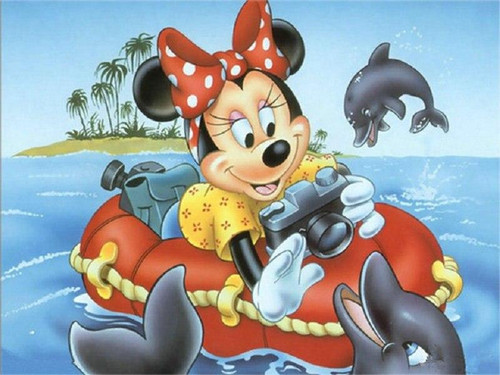 5D Diamond Painting Minnie with Dolphins Kit