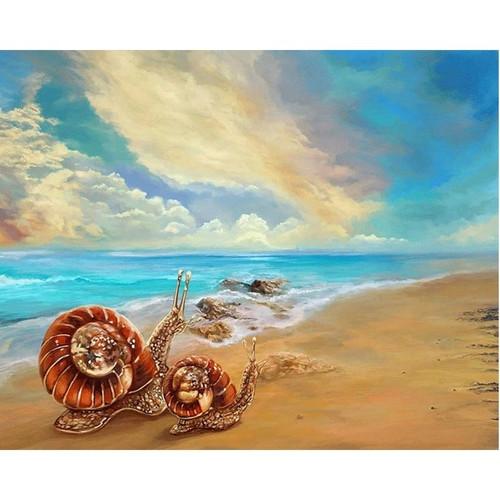 5D Diamond Painting Snails on the Beach Kit