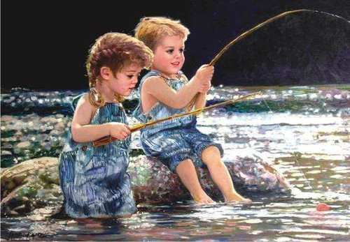 5D Diamond Painting Two Children Fishing Kit
