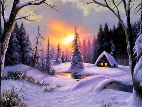 5D Diamond Painting Cabin Deep In the Snow Kit