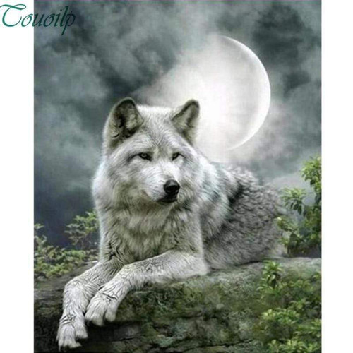 5D Diamond Painting White Wolf in the Moonlight Kit