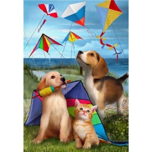5D Diamond Painting Pets & Kites Kit