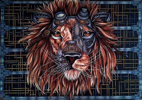 5D Diamond Painting Steam Punk Lion Kit
