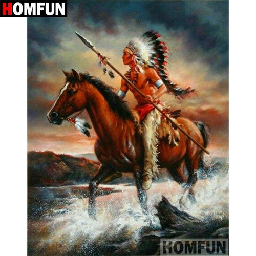 5D Diamond Painting American Indian on His Horse Kit