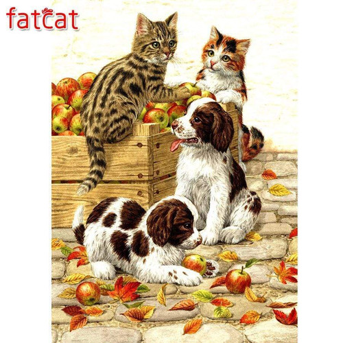 5D Diamond Painting Kittens, Puppies and Apples Kit