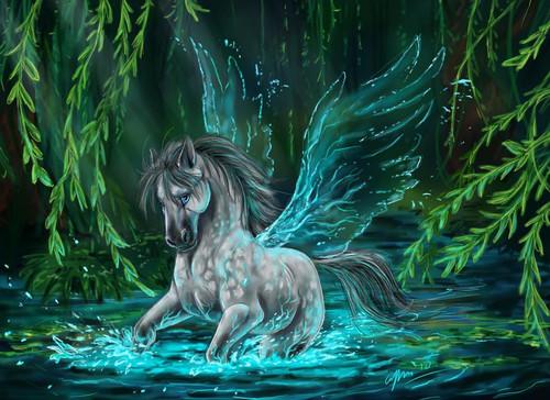 5D Diamond Painting Green Wing Pegasus Kit