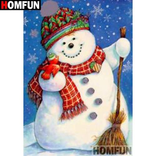 5D Diamond Painting Snowman with a Broom Kit