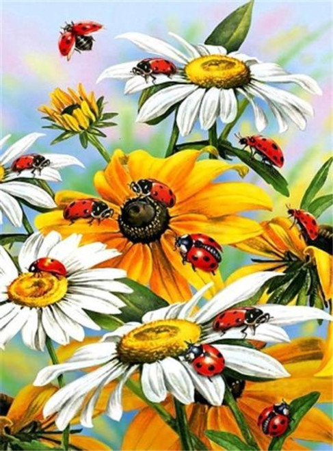 5D Diamond Painting Lady Bugs on Flowers Kit