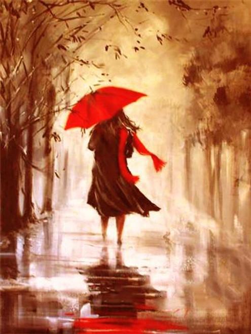 5D Diamond Painting Red Umbrella Woman in the Rain Kit