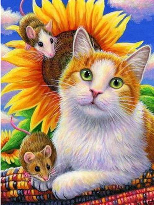5D Diamond Painting Cat, Mice & Sunflower Kit