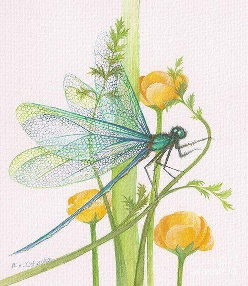 5D Diamond Painting Dragonfly on Yellow Flowers Kit