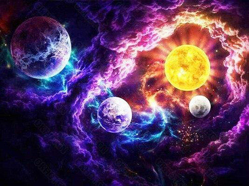 5D Diamond Painting Clouds and Planets Kit