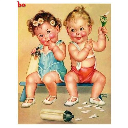 5D Diamond Painting Two Rosie Cheek Babies Kit