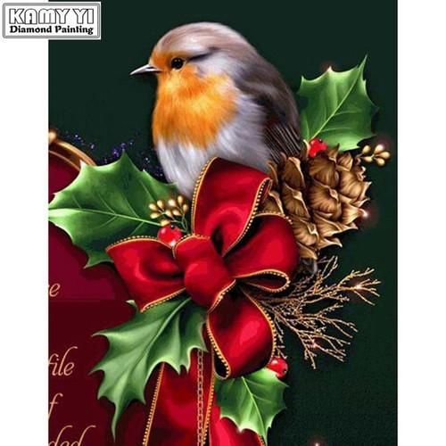 5D Diamond Painting Christmas Bow Bird Kit