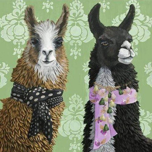 5D Diamond Painting Two Alpacas in Scarves Kit