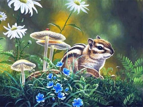 5D Diamond Painting Chipmunk by Mushrooms Kit