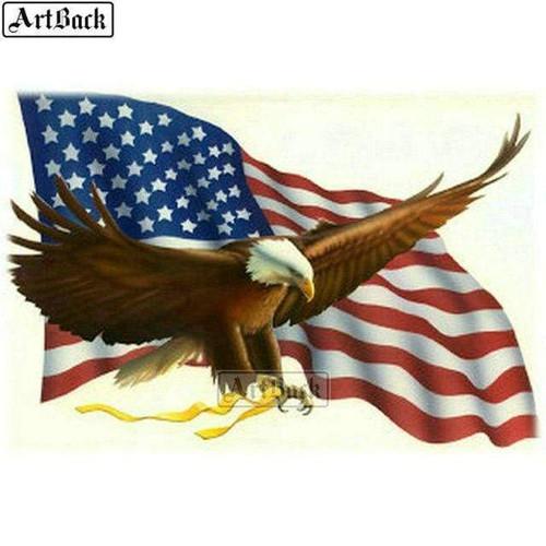 5D Diamond Painting Yellow Ribbon Soaring American Eagle Kit