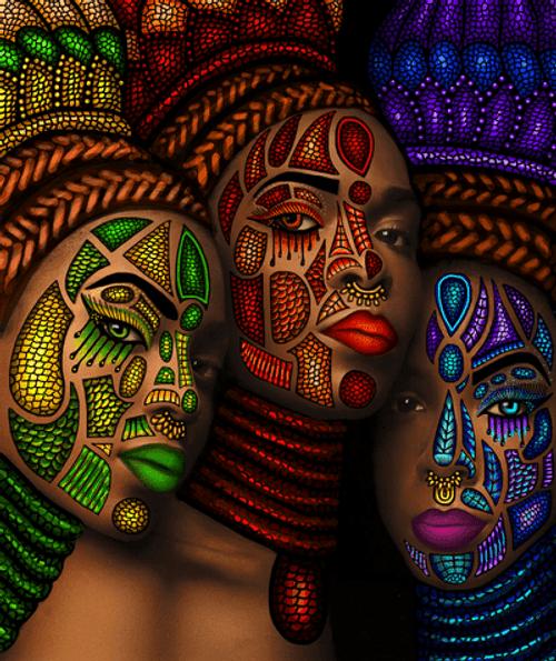 5D Diamond Painting Tribal Painted Women Kit