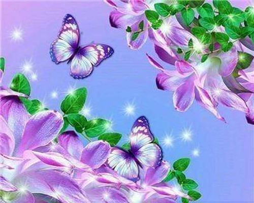 5D Diamond Painting Sparkling Purple Butterflies Kit