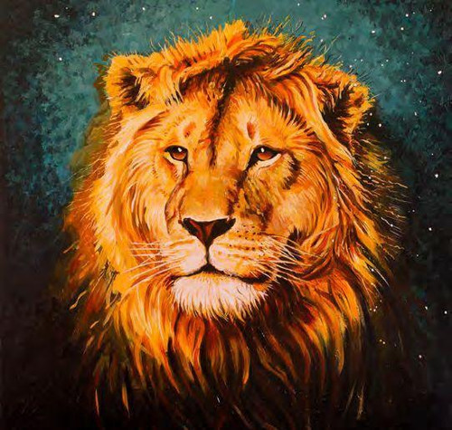 5D Diamond Painting Green Background Lion Kit