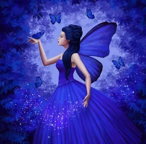 5D Diamond Painting Blue Butterfly Girl Kit