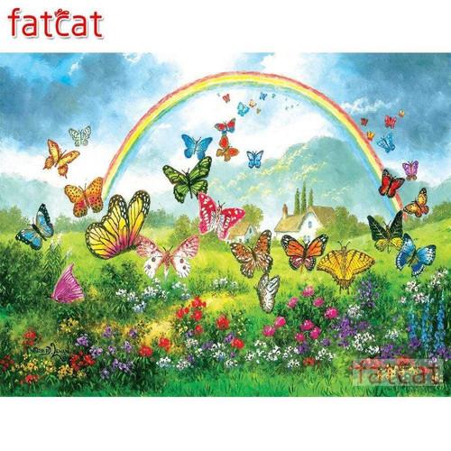 5D Diamond Painting Rainbow and Butterflies Kit