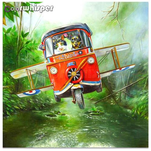 5D Diamond Painting Dog and Cat Airplane Kit