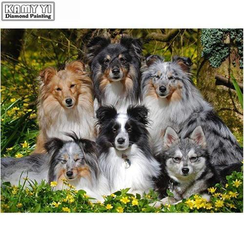 5D Diamond Painting Six Dog Portrait Kit