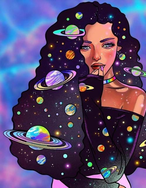 5D Diamond Painting Space Hair Woman Kit
