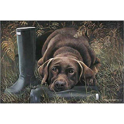 5D Diamond Painting Dog with Rubber Boots Kit