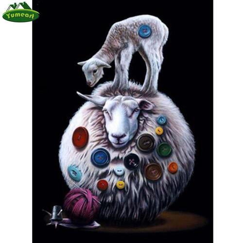 5D Diamond Painting Button Sheep Kit