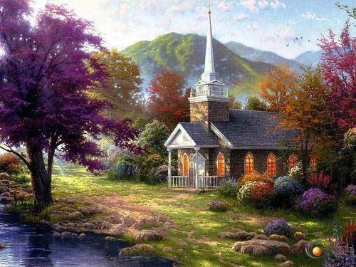 5D Diamond Painting White Steeple Church Kit