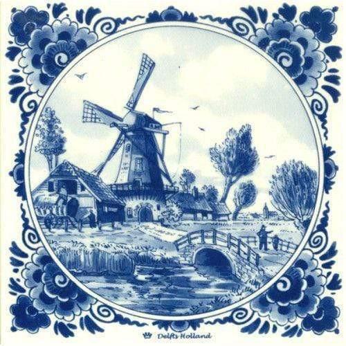 5D Diamond Painting Delft Blue Windmill and Bridge Kit