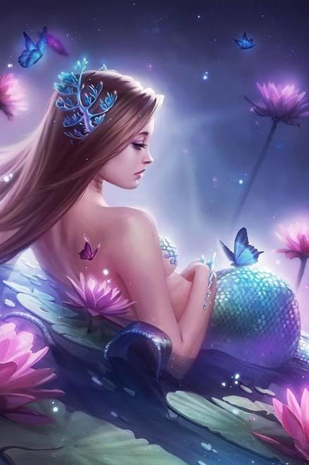 5D Diamond Painting Lotus Flower Mermaid Kit