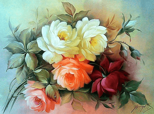 5D Diamond Painting Five Colorful Roses Kit